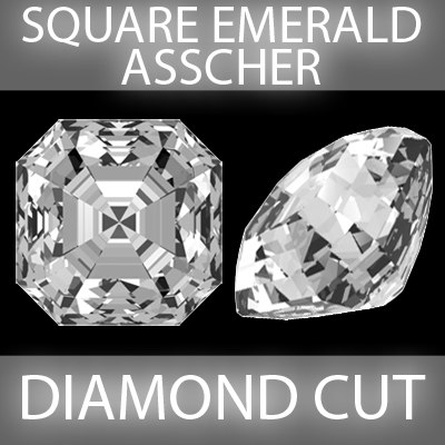 3d square emerald asscher diamond cut model