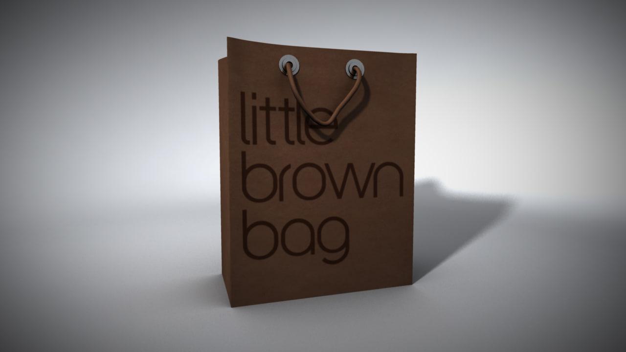 3d model little brown bag