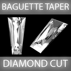 baguette taper diamond cut 3d model