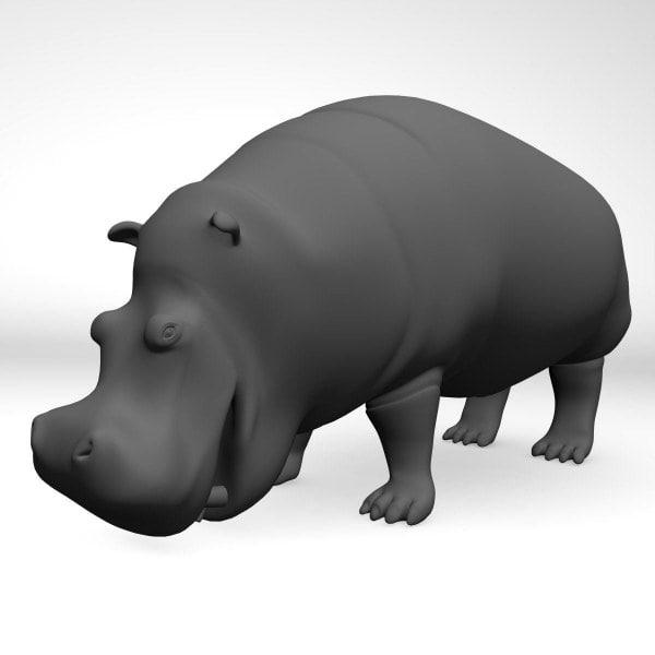 3d hippopotamus amphibius realistic model