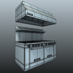 commercial hood kitchen 3d model