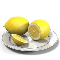 lemon fruit plate 3d model