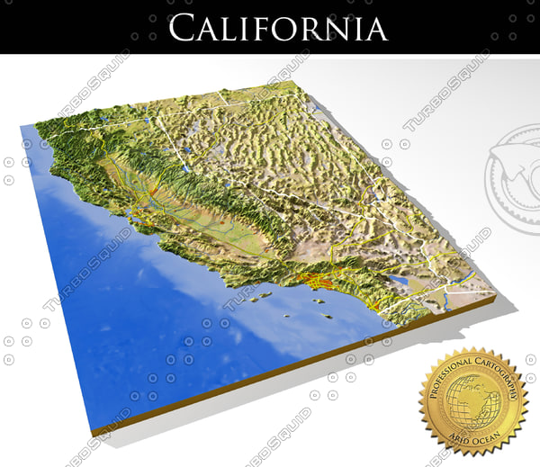 3d relief california model