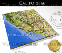 California, High resolution 3D relief maps