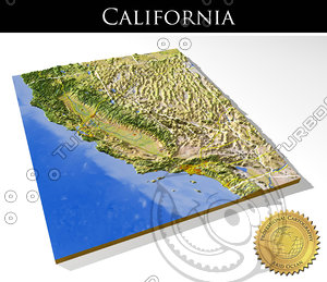 3d relief california model