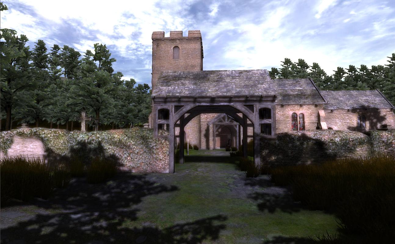 obj medieval church graveyard