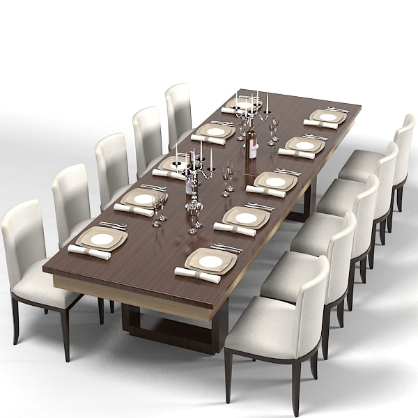 Dining Table Set Modern: Modern Dining Table 3d Model
