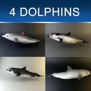 3d obj pack dolphins