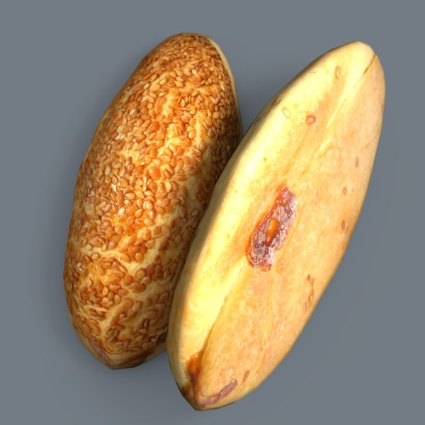 3d model of sesame pogaca