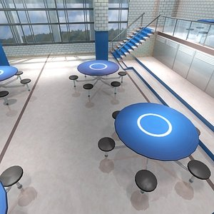 3d school cafeteria model