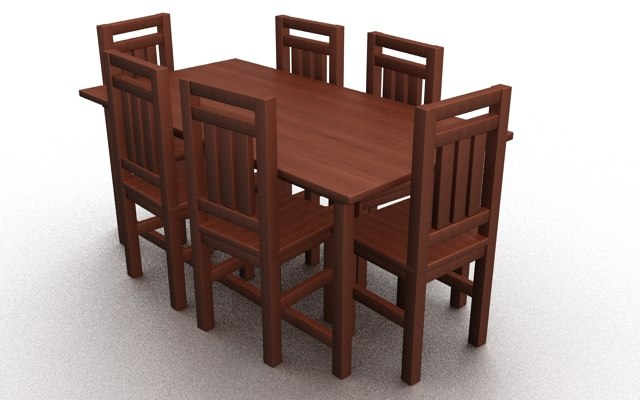 3ds max wooden dinning furniture table