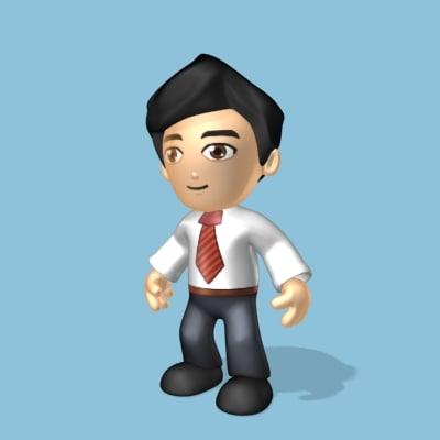 simple male cartoon 3d max