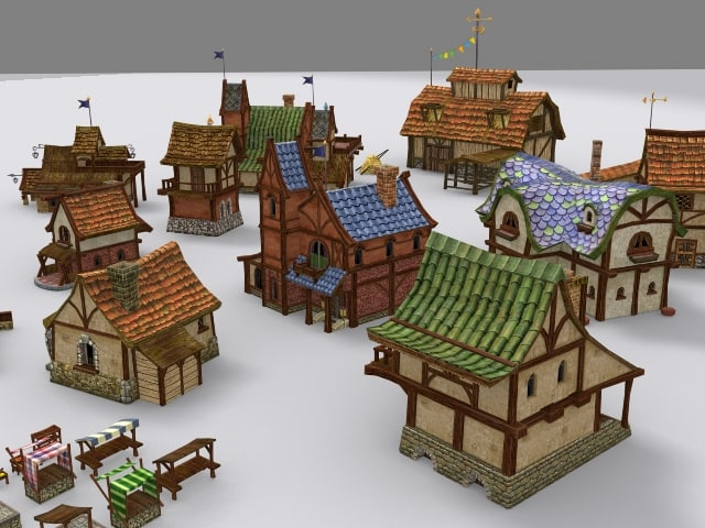 medieval fantasy town tiny 3d model