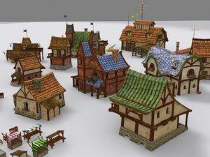 medieval fantasy town tiny 3d model
