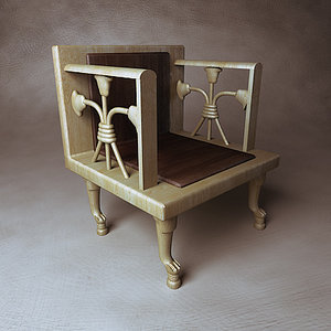egyptian wooden chair throne 3d model