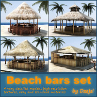 tropical beach bars 3d model