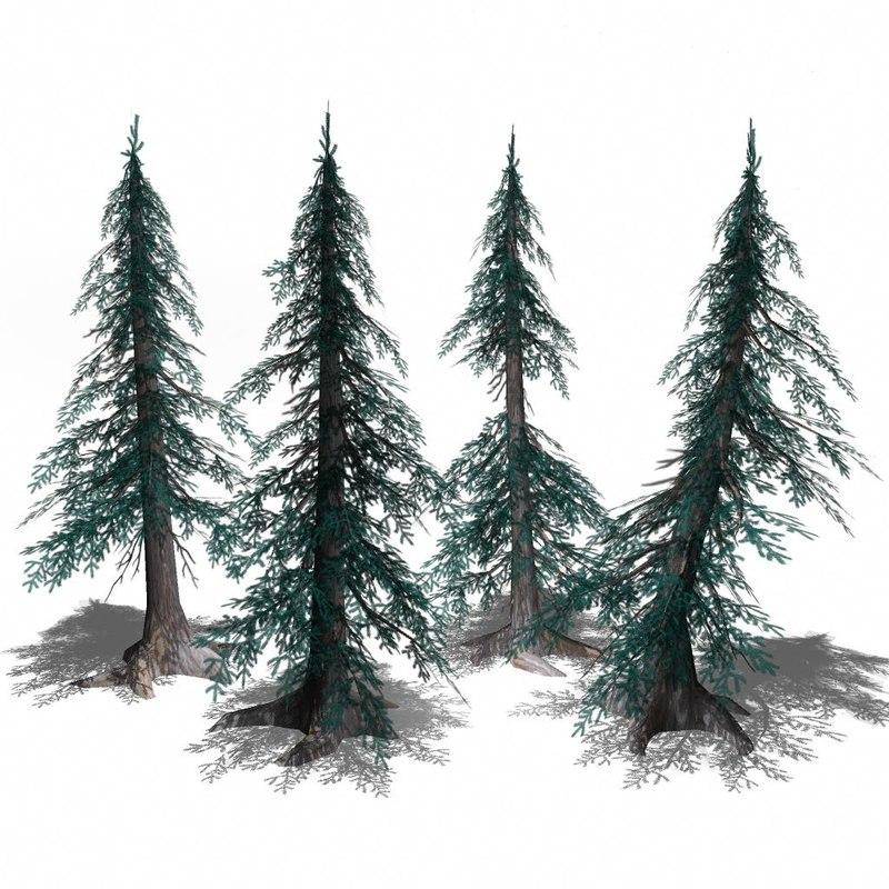 pines trees 3d model