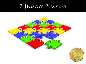 7 jigsaw puzzles different 3d model