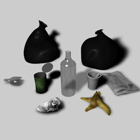 3d model trash newspaper