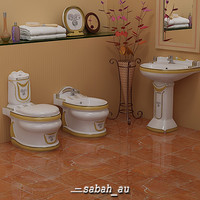 white toilet stylish bathroom mirror 3d model