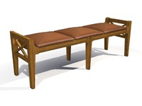 3d wooden large bench