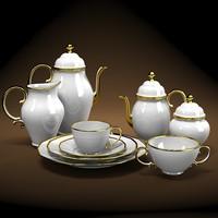 classic victorian  porcelain golden tea coffee set
