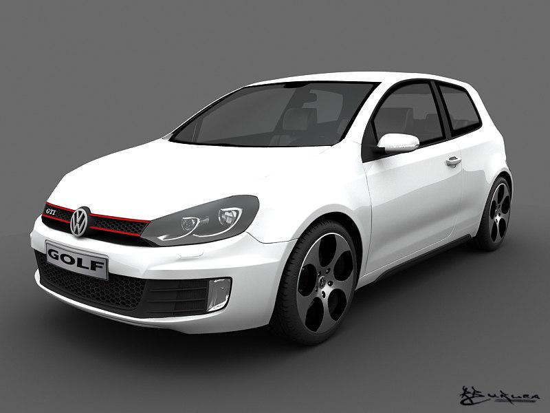volkswagen golf gti 2010 3d model