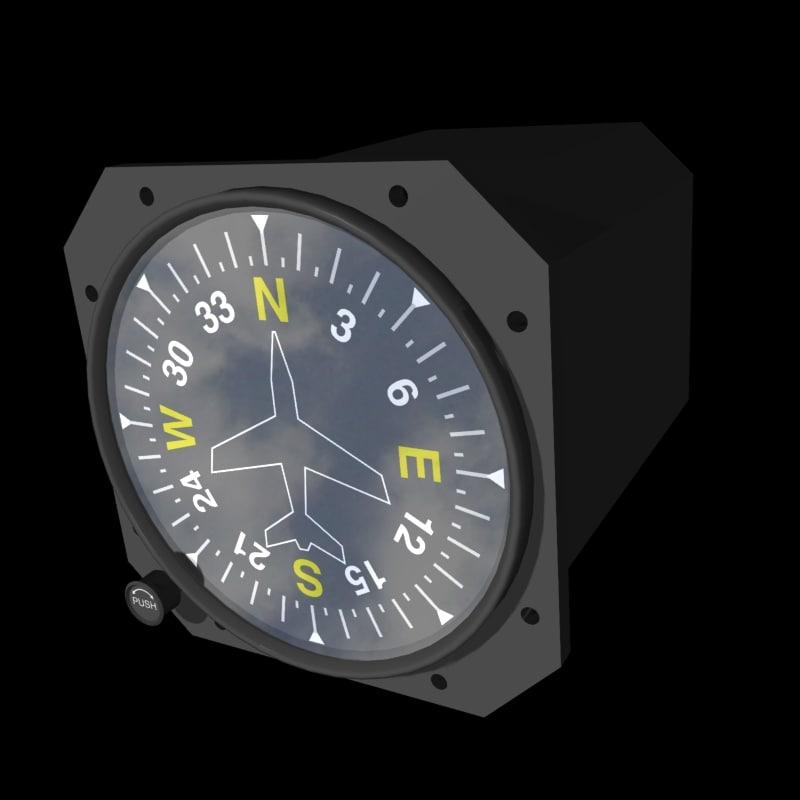 3d model compass heading indicator