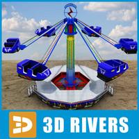 swing carousel wave swinger 3d model