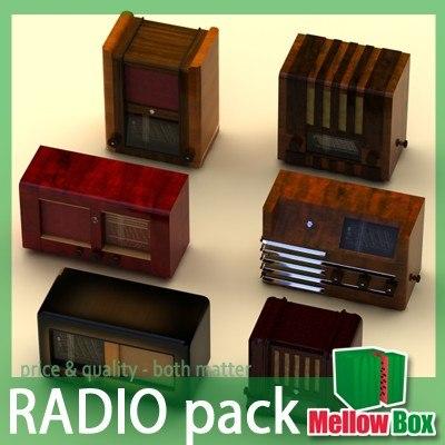 3d model old radio pack