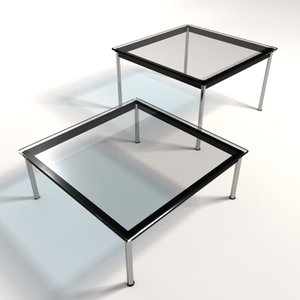 le corbusier lc10 dining tables 3d model