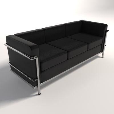 le corbusier lc2 three-seater 3d model