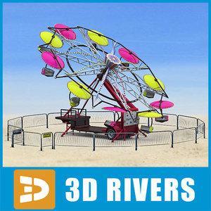3d umbrella ride paratrooper model