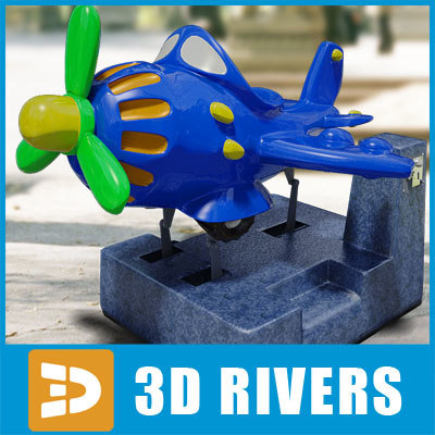 amusement ride kiddie plane 3d model