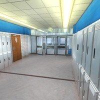 3d school hallway model