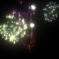 scene fireworks 3d model
