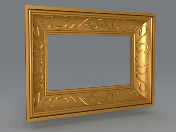 frame gold wood 3d model