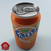 drink fanta 0 33l 3d model