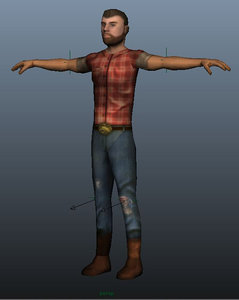 maya character rigged farmer