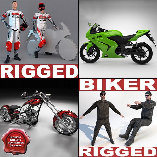 3d model of motorcycles v3 chopper bike