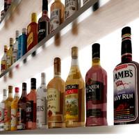20 rum bottles 3d model