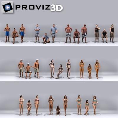 30 people: beach people 3d model