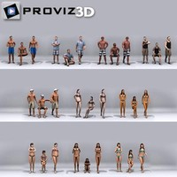 30 people: beach people 3d model