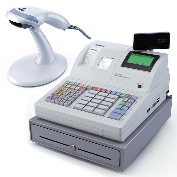cash register scanner bar 3d model