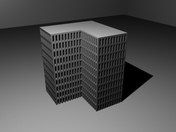 3ds max story l-shaped building