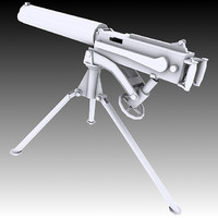 3d model vickers machine gun