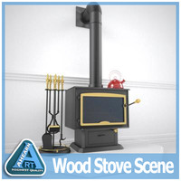 3ds max scene wood stove