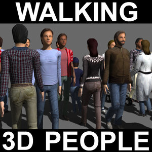 rigged people walk 3d model