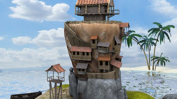 concept building house island 3d model