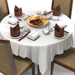 japanese table restaurant 3d model